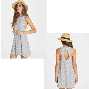 BILLABONG Gray Striped Muscle Tank Cut-Out Dress M